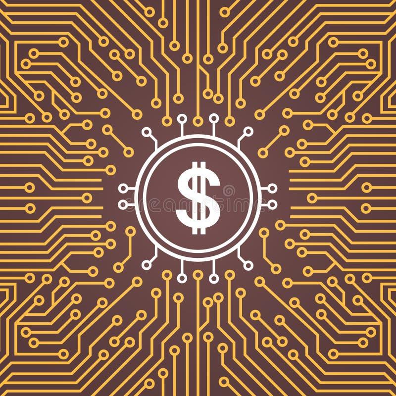 Dolar assina sobre a bandeira do conceito de sistema do centro de Chip Moterboard Backgroung Network Data do computador ilustração royalty free