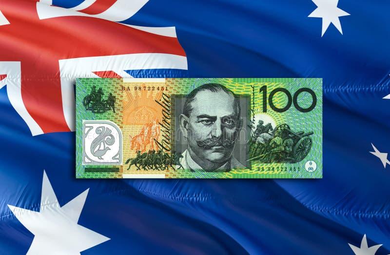 Dolar Australijski gospodarka dla biznesowej i pieniężnej pojęcie pomysłów ilustracji, tło Pojęcie z pieniądze dolarem australijs fotografia stock
