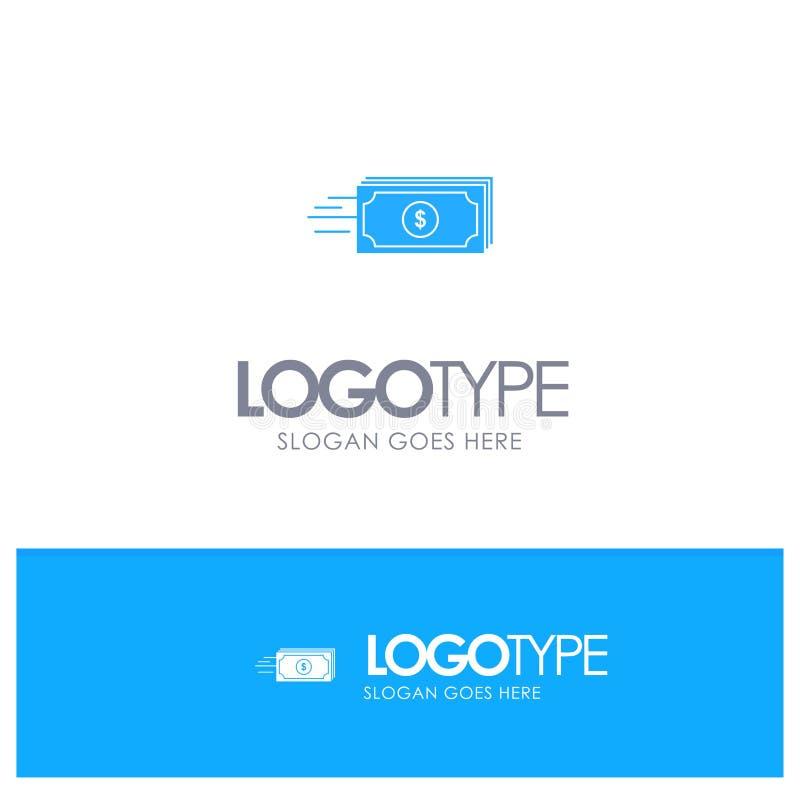 Dolar, biznes, przepływ, pieniądze, waluta Błękitny Stały logo z miejscem dla tagline ilustracja wektor