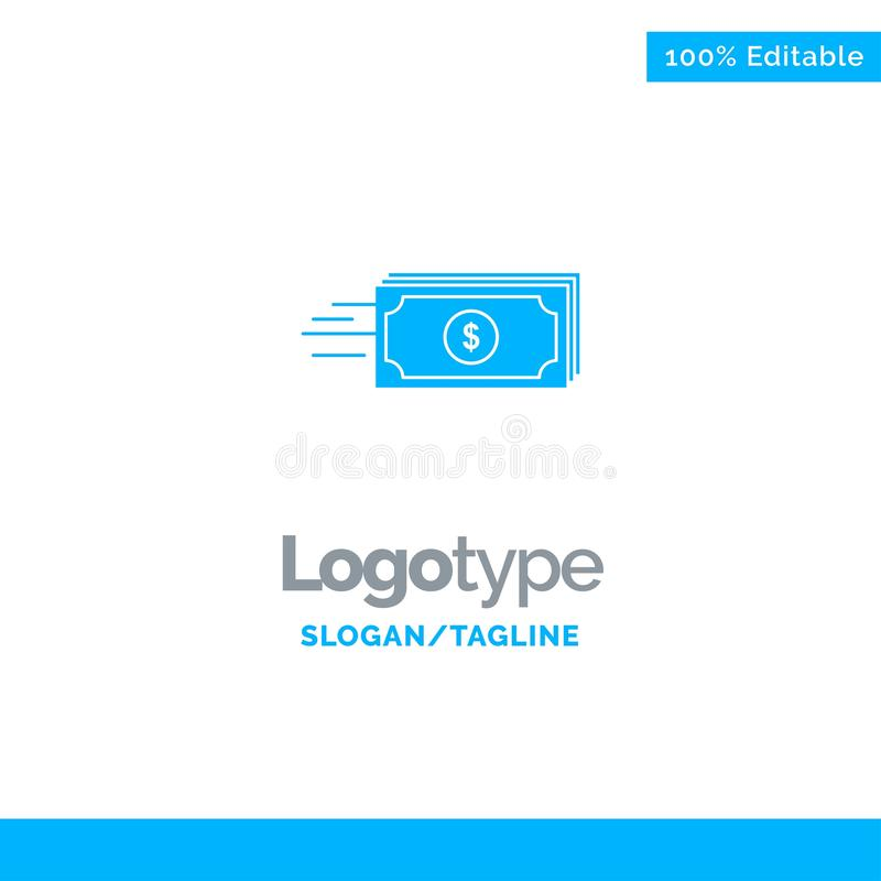 Dolar, biznes, przepływ, pieniądze, waluta logo Błękitny Stały szablon Miejsce dla Tagline royalty ilustracja