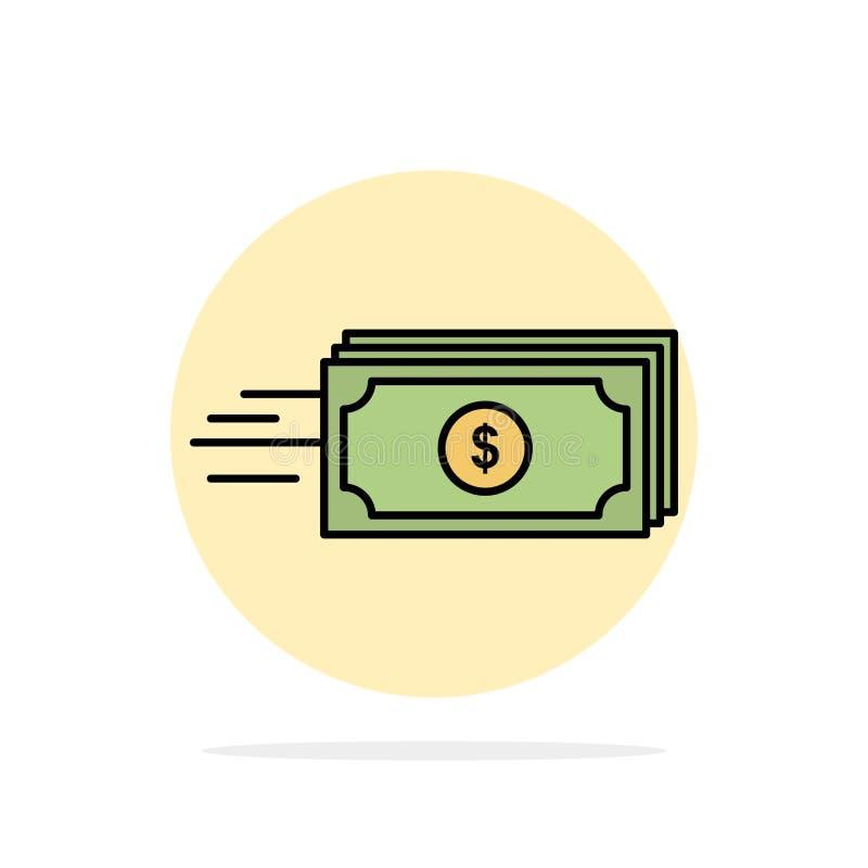 Dolar, biznes, przepływ, pieniądze, waluta okręgu Abstrakcjonistycznego tła koloru Płaska ikona ilustracja wektor