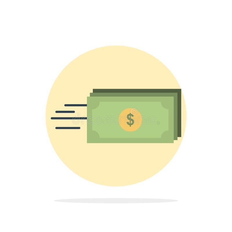 Dolar, biznes, przepływ, pieniądze, waluta okręgu Abstrakcjonistycznego tła koloru Płaska ikona royalty ilustracja