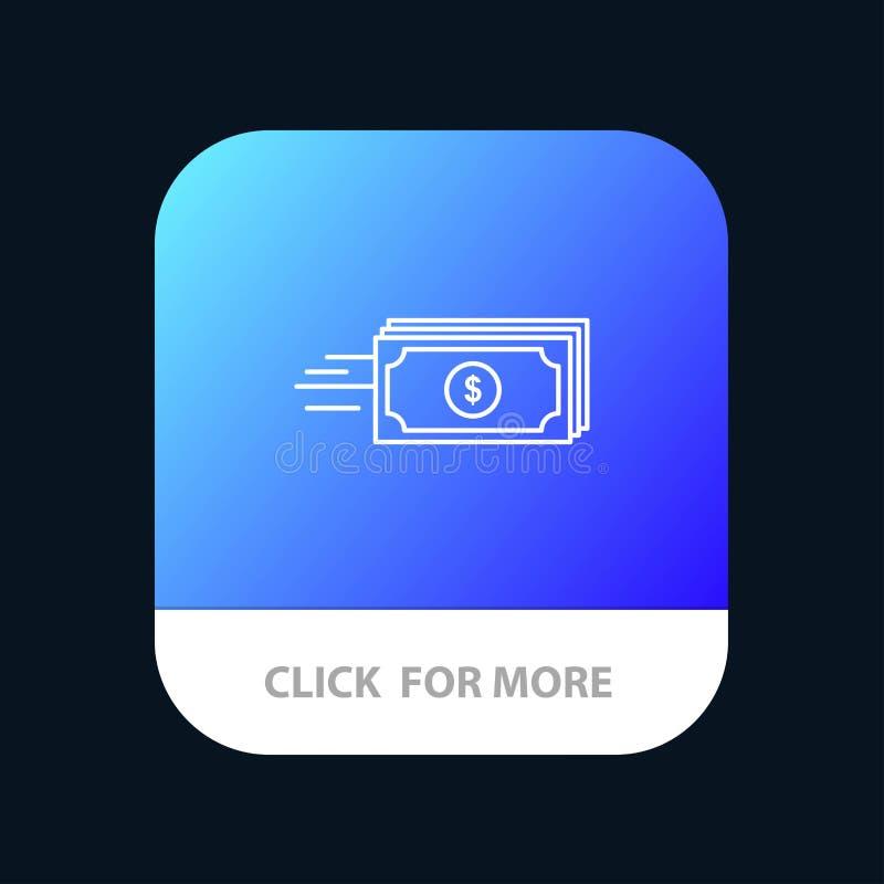Dolar, biznes, przepływ, pieniądze, waluty App Mobilny guzik Android i IOS linii wersja royalty ilustracja