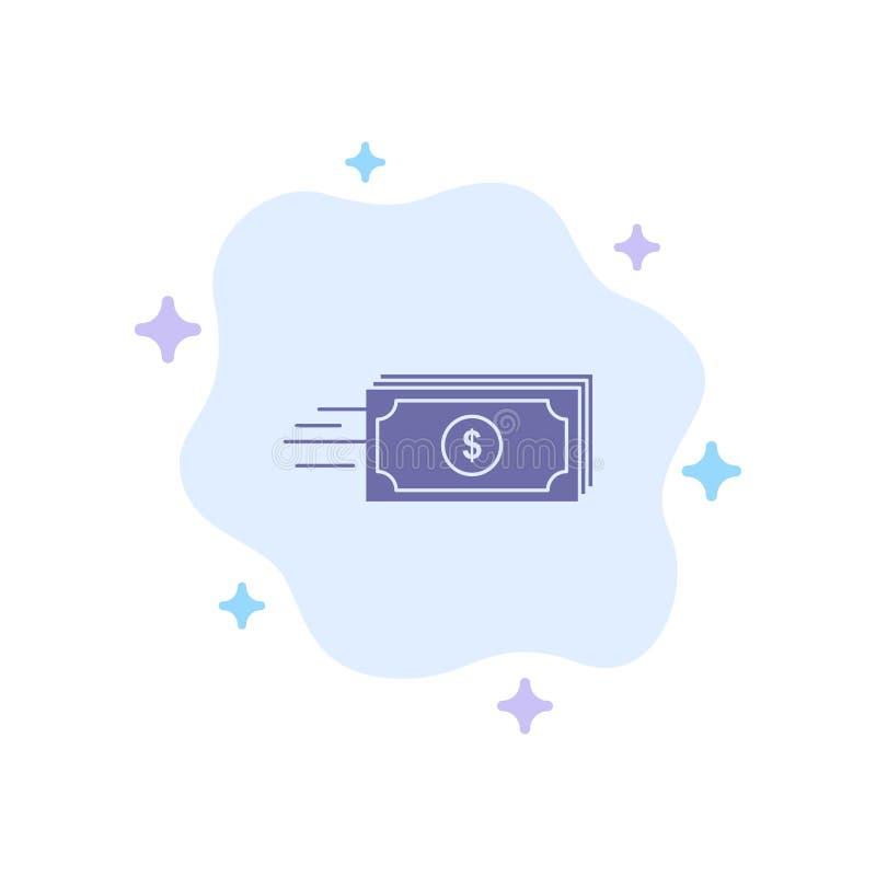 Dolar, biznes, przepływ, pieniądze, waluty Błękitna ikona na abstrakt chmury tle royalty ilustracja