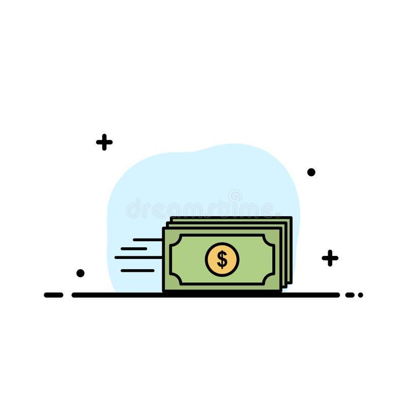 Dolar, biznes, przepływ, pieniądze, waluty mieszkania ikony sztandaru Biznesowa linia Wypełniający Wektorowy szablon royalty ilustracja