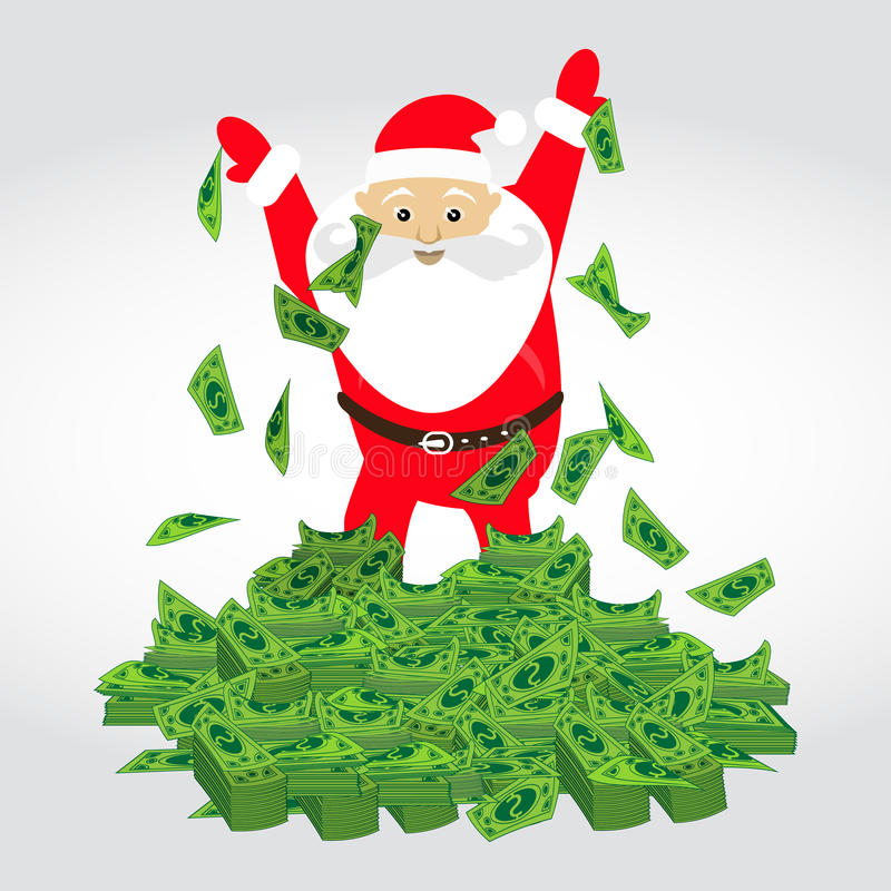Dolar. a bunch of mountain money Santa Claus vector illustration