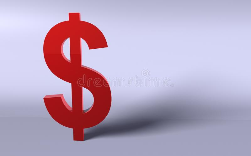 Dolar en rojo ilustración del vector