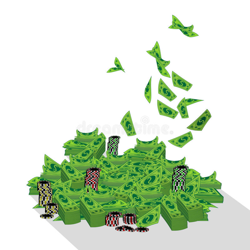 Dolar. heap, mountain poker money. vector illustration