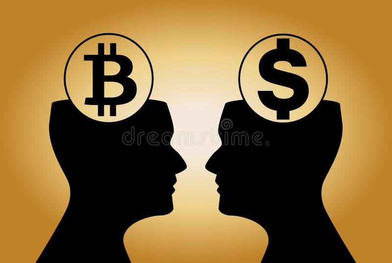 Dolar i bitcoin podpisujemy wśrodku ludzkich głów ogląda na each royalty ilustracja