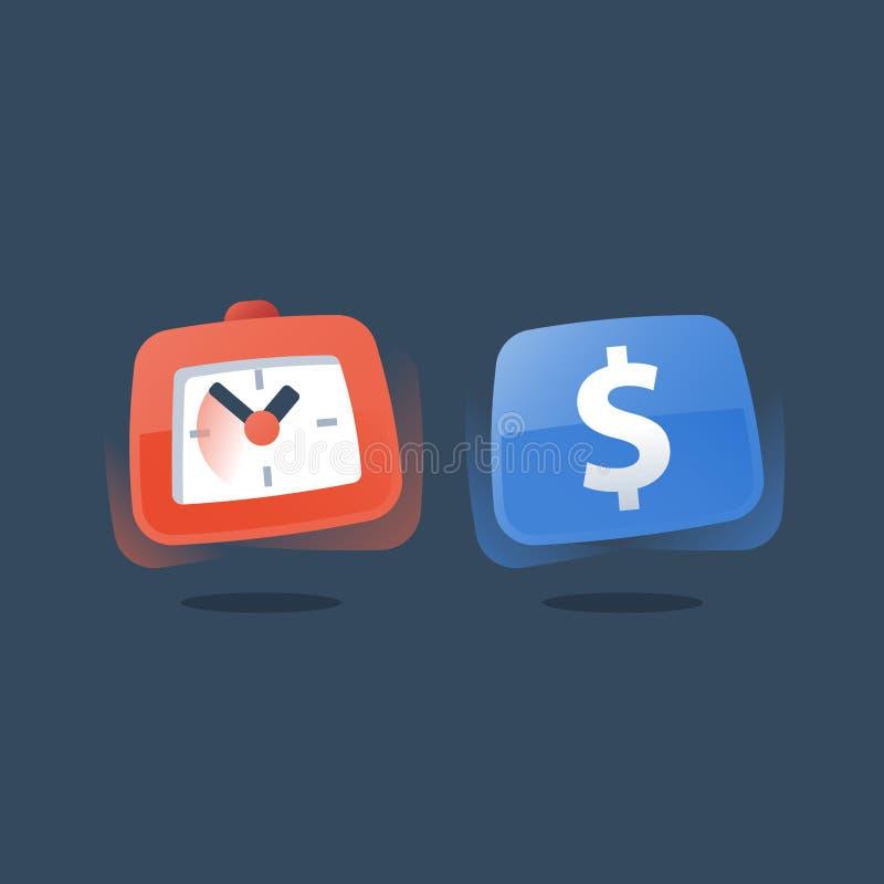 Dolar i zegar, płatnicza zaliczka, czas jesteśmy pieniądze, inwestycja długoterminowa, szybka pożyczka, emerytalny savings konto, ilustracji