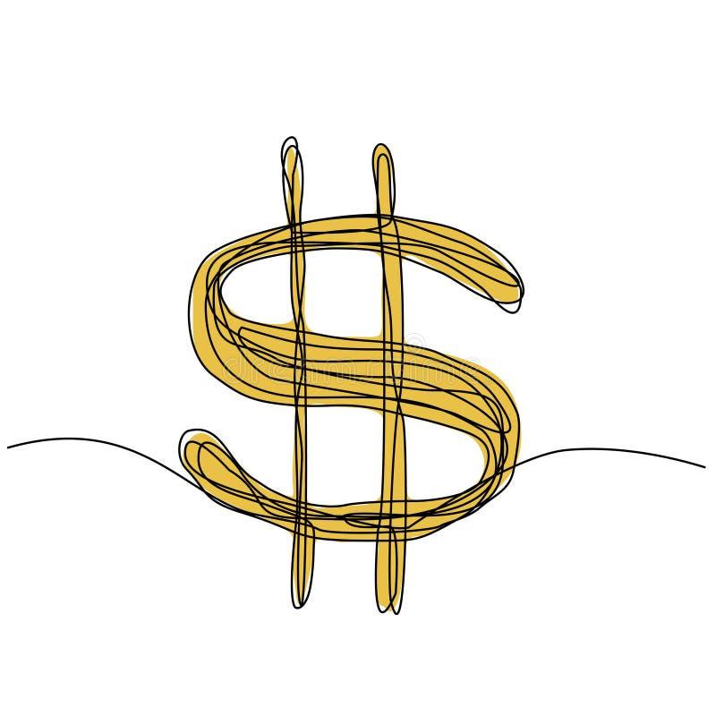 Dolar jeden ciągły rysunek minimalizujący bazgroły wyryty na białym tle ilustracja wektor