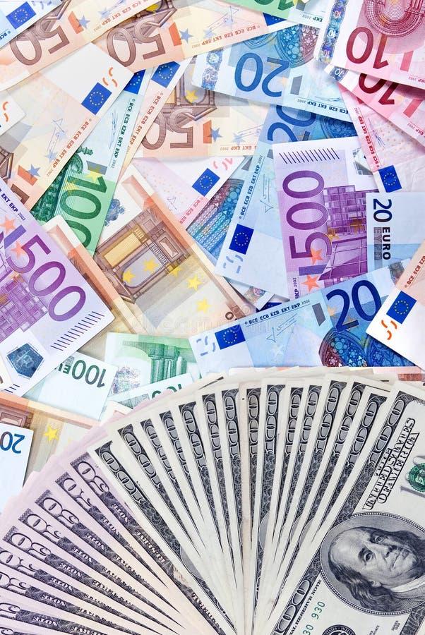dolar kontra euro zdjęcie stock