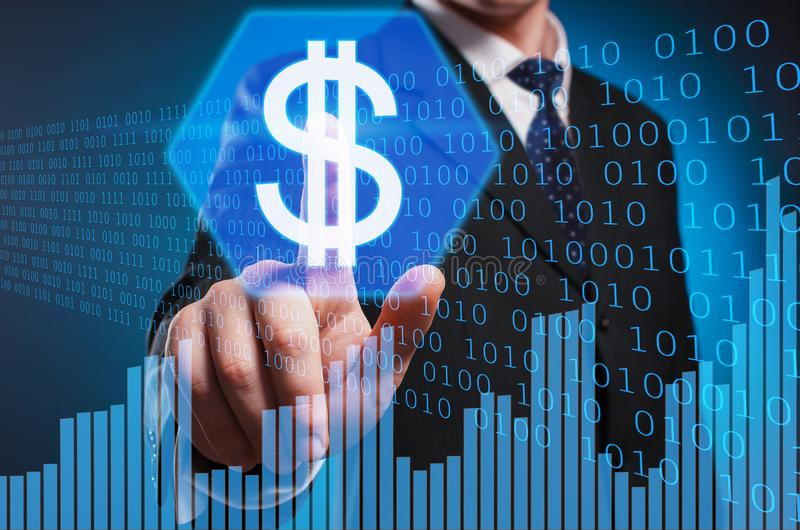 Dolar. The man in a suit and tie clicks the dolar with his index royalty free stock photos