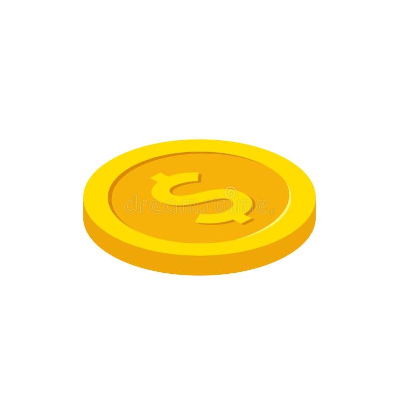 Dolar moneta w isometric stylu najlepsza ilość również zwrócić corel ilustracji wektora ilustracji
