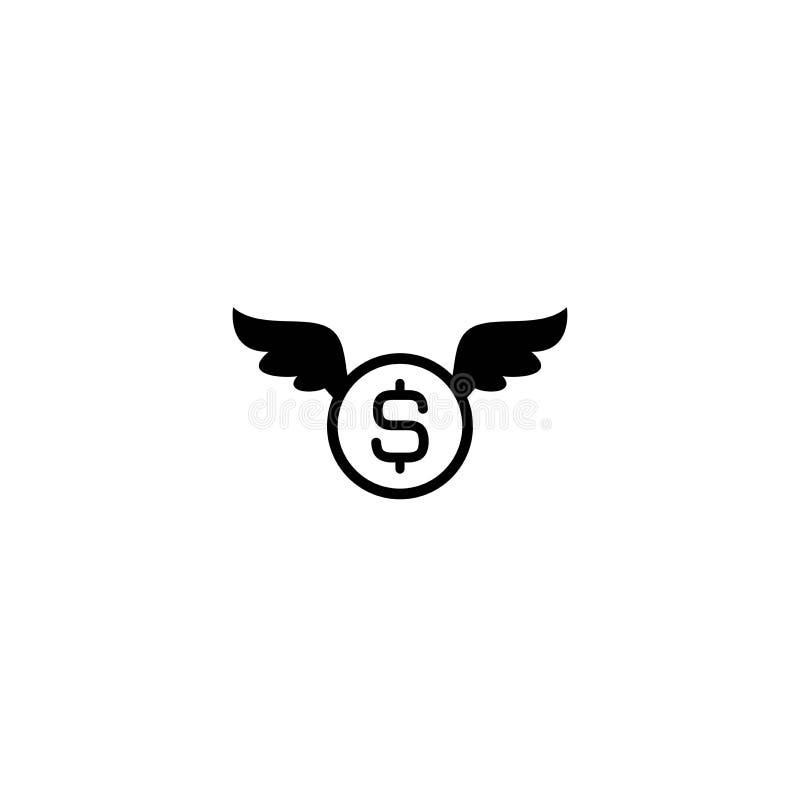 Dolar moneta z skrzyd?ami Czarna p?aska ikona odizolowywaj?ca na bia?ym tle ilustracja wektor