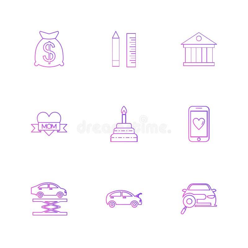 dolar, ołówek, skala, bank, wisząca ozdoba, samochód, mama, serce, tort royalty ilustracja