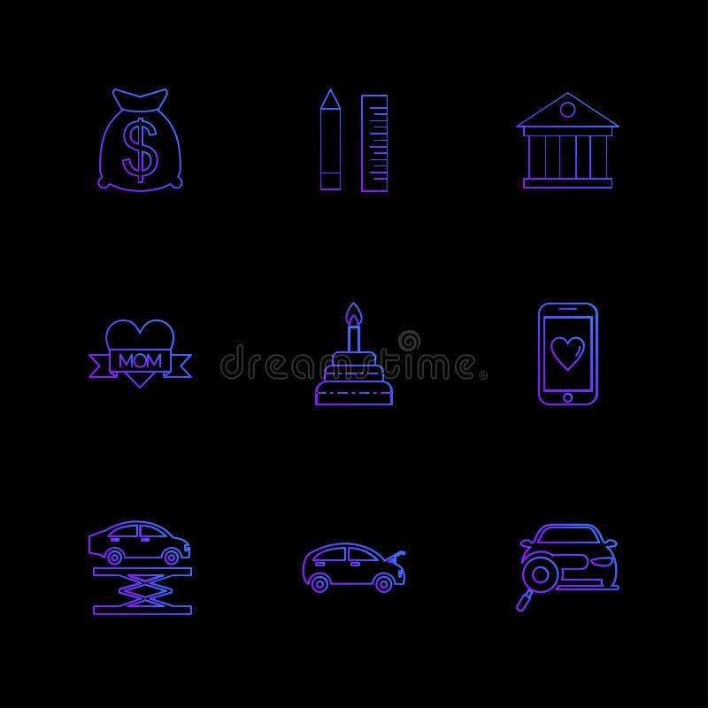 dolar, ołówek, skala, bank, wisząca ozdoba, samochód, mama, serce, tort ilustracja wektor