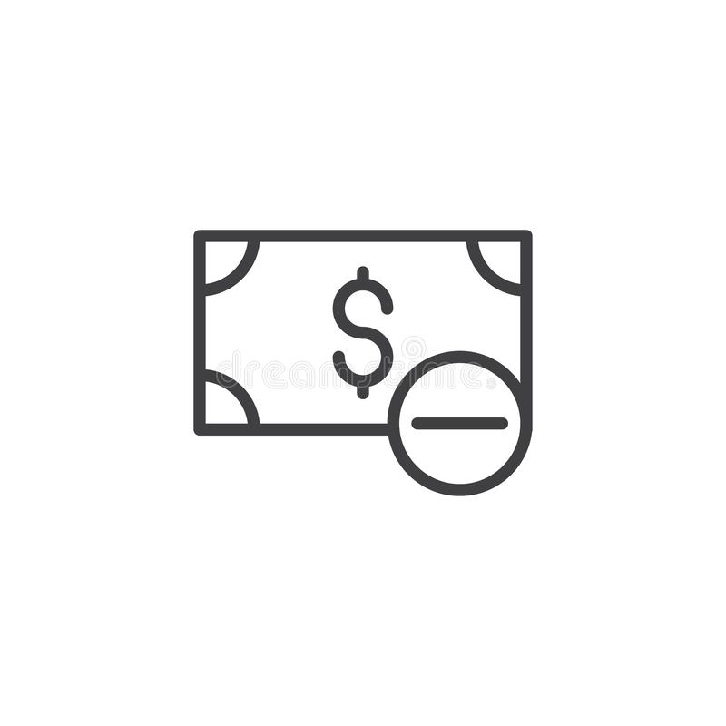 Dolar odwoływa kontur ikonę ilustracja wektor
