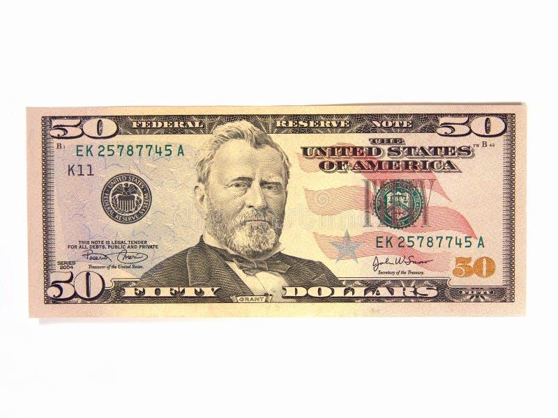 dolar pięćdziesiąt nas rachunku obraz royalty free