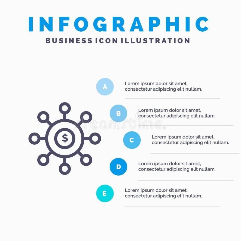 Dolar, pieniądze, związek, obsiewanie, Pieniężna Kreskowa ikona z 5 kroków prezentacji infographics tłem royalty ilustracja