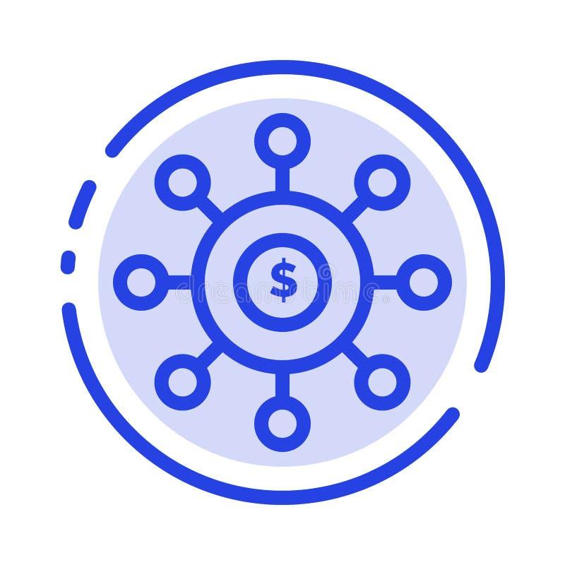 Dolar, pieniądze, związek, obsiewanie, Pieniężny błękit Kropkująca linii linii ikona ilustracji