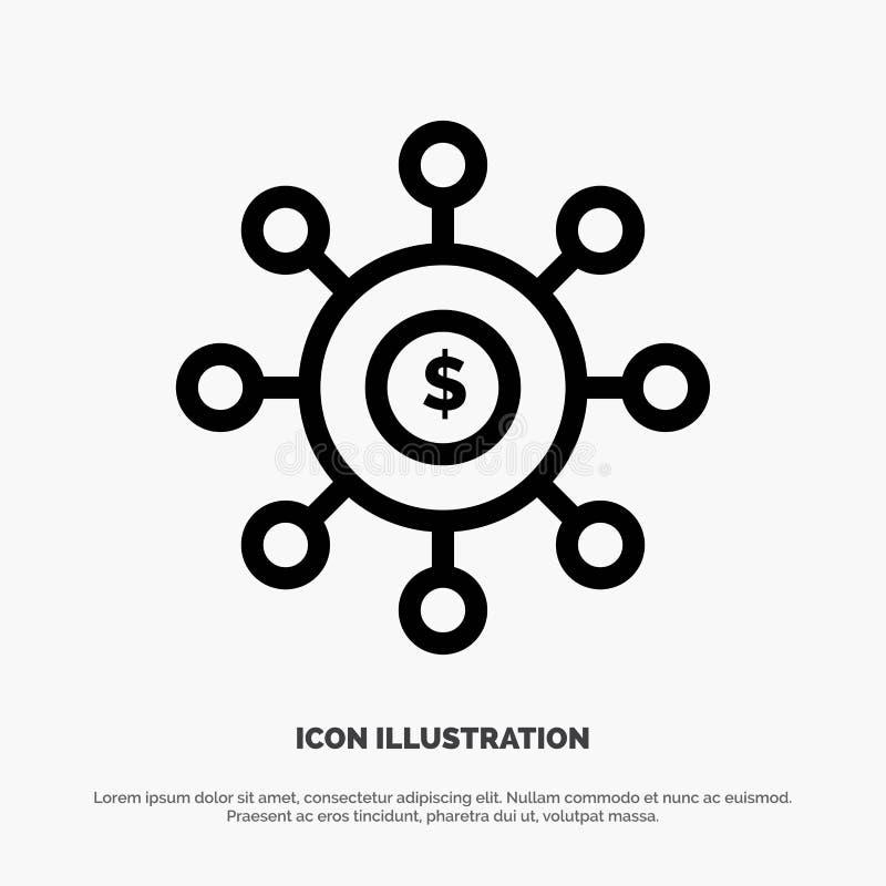 Dolar, pieniądze, związek, obsiewanie, Pieniężny Kreskowy ikona wektor royalty ilustracja