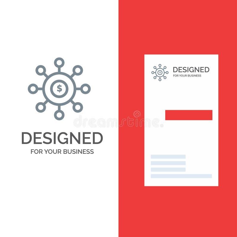 Dolar, pieniądze, związek, obsiewanie, Pieniężny Popielaty logo projekt i wizytówka szablon, ilustracji