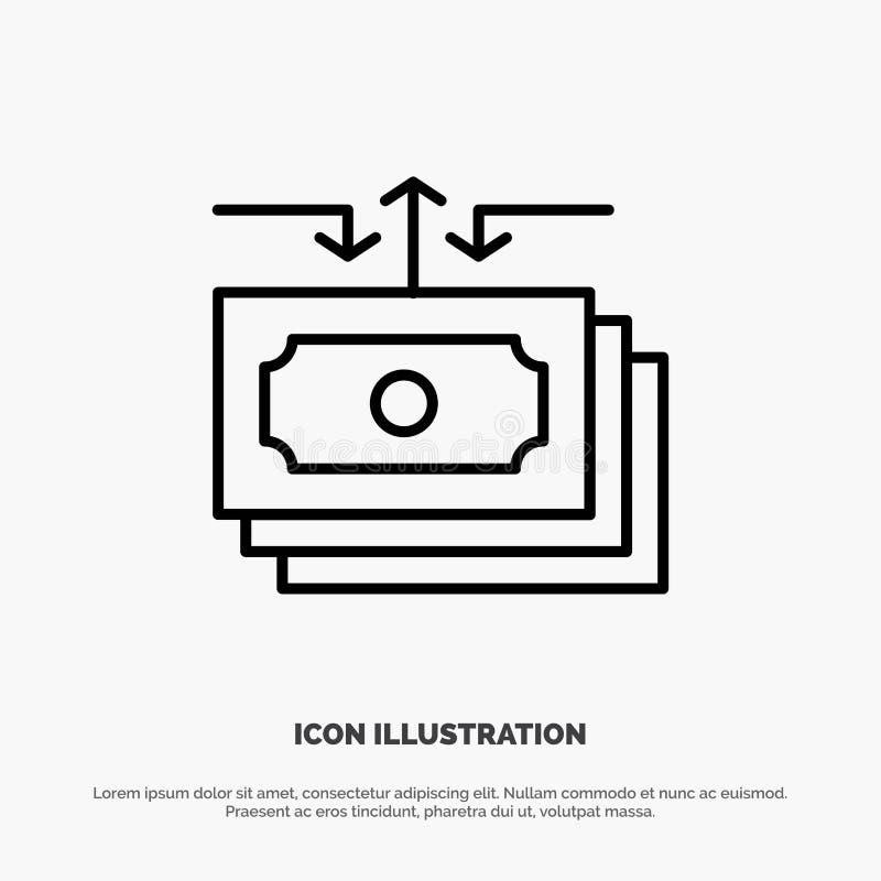 Dolar, przepływ, pieniądze, gotówka, raport ikony Kreskowy wektor royalty ilustracja