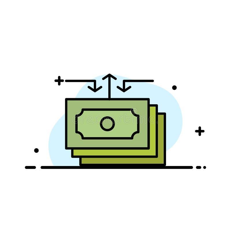 Dolar, przepływ, pieniądze, gotówka, Raportowa Biznesowa linia Wypełniający mieszkanie ikony sztandaru Wektorowy szablon ilustracja wektor