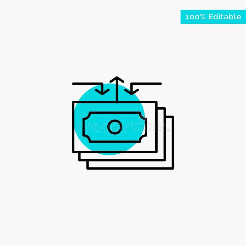 Dolar, przepływ, pieniądze, gotówka, Raportowa turkusowa główna atrakcja okręgu punktu wektoru ikona ilustracja wektor