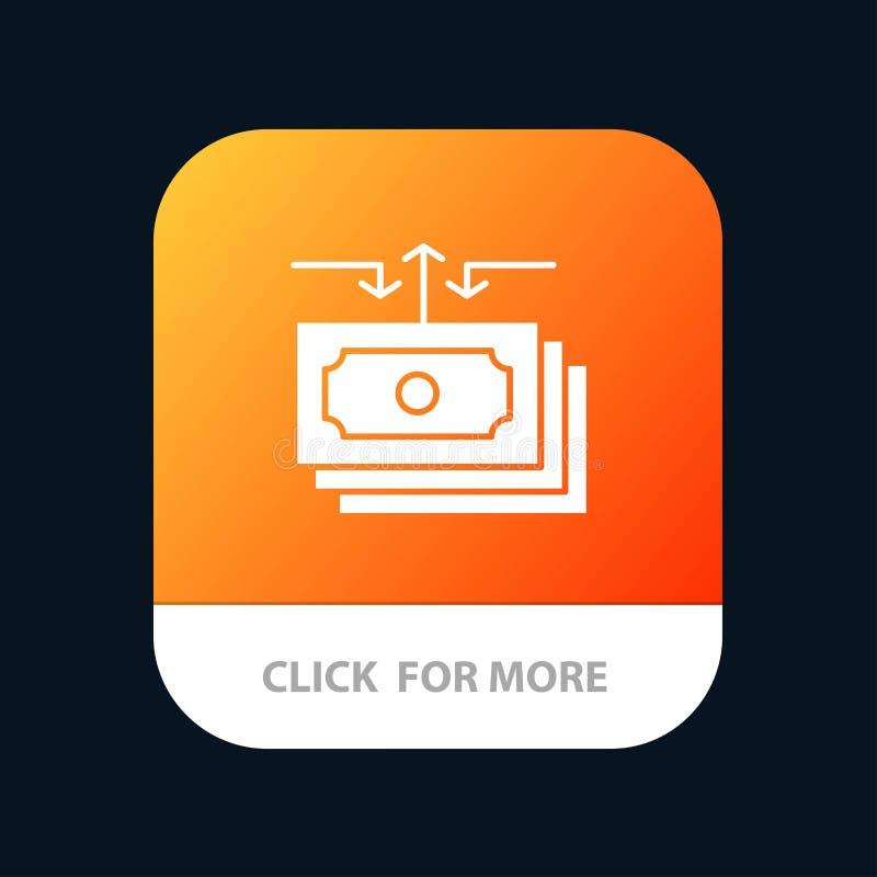 Dolar, przepływ, pieniądze, gotówka, Raportowy Mobilny App guzik Android i IOS glifu wersja royalty ilustracja