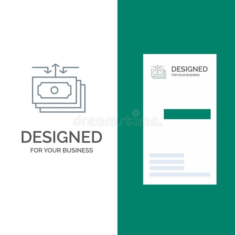 Dolar, przepływ, pieniądze, gotówka, raportu logo Popielaty projekt i wizytówka szablon, ilustracji