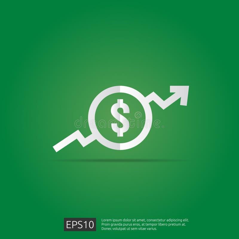 dolar przyrostowa ikona Pieniądze symbol z strzałkowatym rozciąganiem wzrasta up Biznesowa koszt sprzedaży ikona również zwrócić  ilustracja wektor