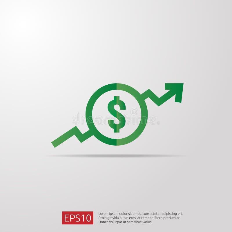 dolar przyrostowa ikona Pieniądze symbol z strzałkowatym rozciąganiem wzrasta up Biznesowa koszt sprzedaży ikona również zwrócić  royalty ilustracja