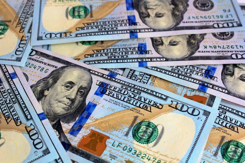 Dolar, 100, rachunek, sto, rachunki, pieniądze, jeden, tło, dolary, amerykanin, waluta, biznes, usa, bankowość, papier, gotówka,  zdjęcie stock