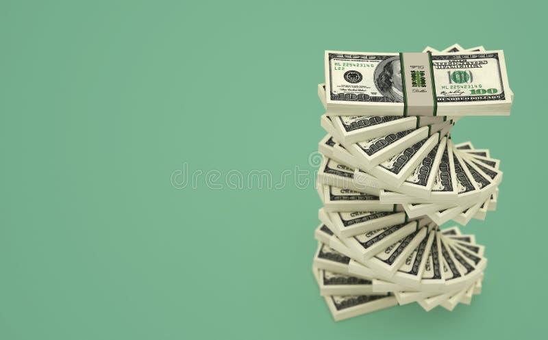 Dolar spirala - spirala robić z 100 Dolarowych banknotów royalty ilustracja