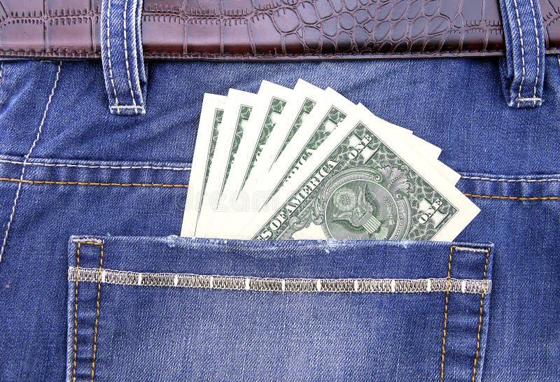 Dolar w kieszeni zdjęcia royalty free