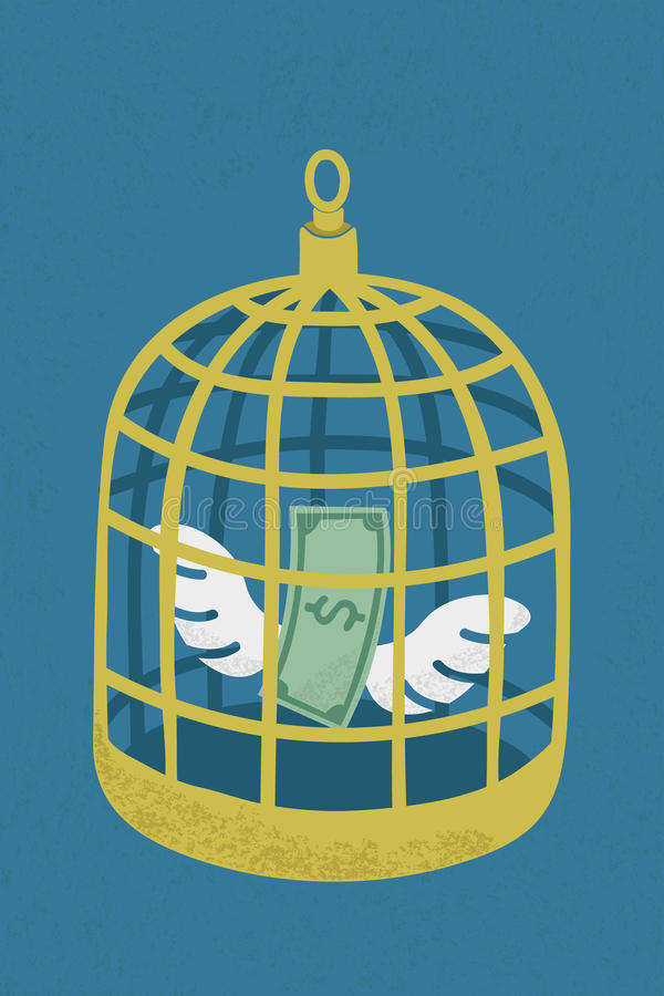 Dolar w złotej ptasiej klatce ilustracja wektor