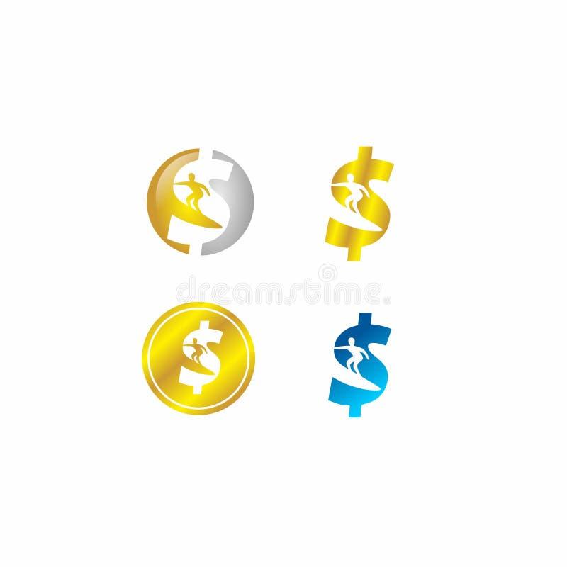 Dolar, złoto, pieniądze surfingowa znak Bogactwo, pomyślność logo zdjęcie stock