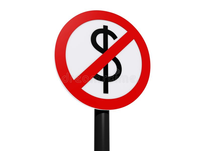 Dolar zabraniający znak ilustracji
