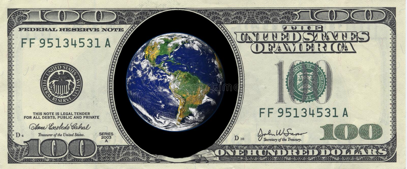 dolar ziemię sto wewnątrz zdjęcia stock