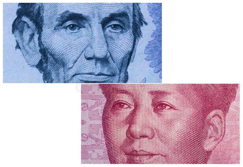 dolara amerykańskiego rachunek Juan i Chiny zdjęcie royalty free