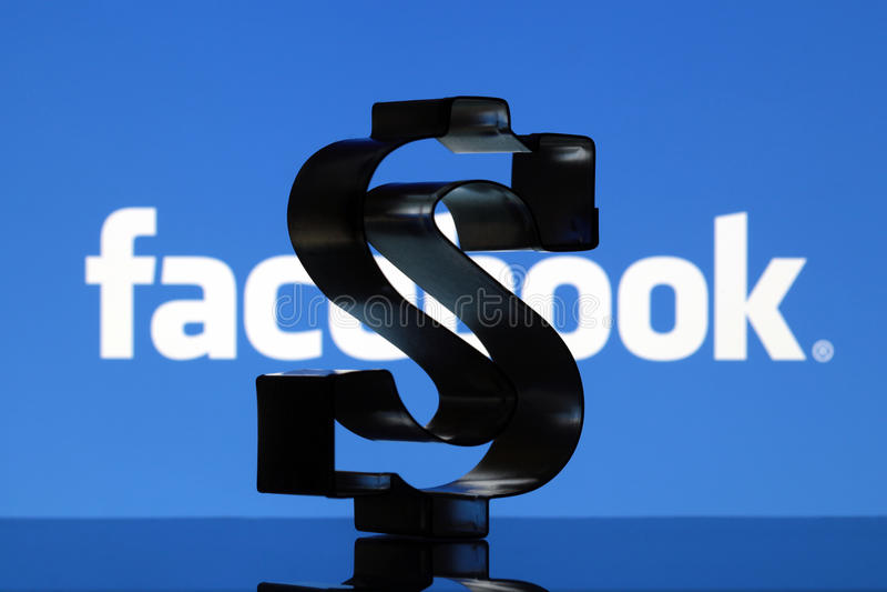 dolara amerykańskiego znak i Facebook logo obraz stock