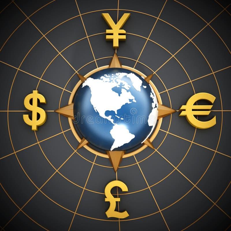 Dolara, euro, jenu i funta symbole wokoło kuli ziemskiej, ilustracji