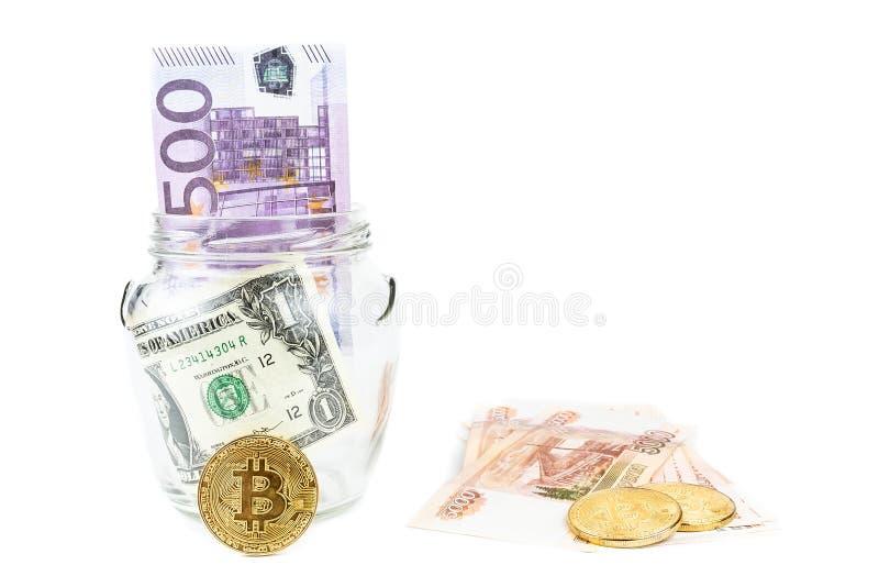 Dolara i bitcoin bielu tło zdjęcia stock