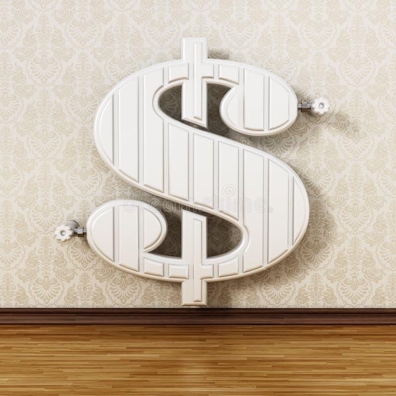 Dolara kształtny kaloryferowy obwieszenie na ścianie ilustracja 3 d ilustracji