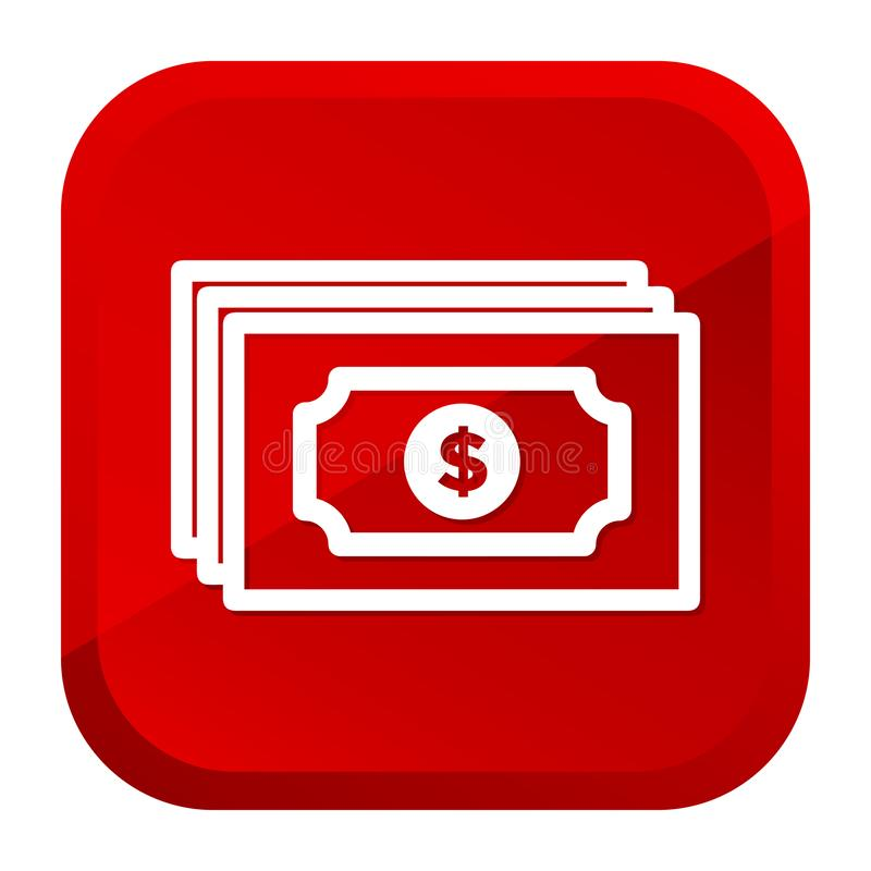 Dolara pieniądze banka Nutowa ikona czerwony przycisk Eps10 Wektor royalty ilustracja