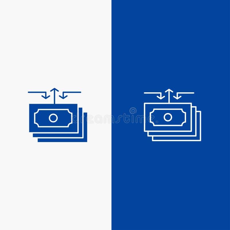 Dolara, przepływu, pieniądze, gotówki, raport linii i glifu Stałej ikony sztandaru glifu, Błękitnej ikony błękita Stały sztandar royalty ilustracja