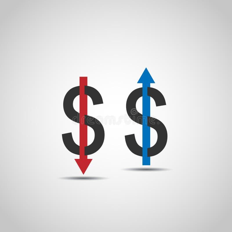 Dolara wzrosta zmniejszania mieszkania ikona ilustracja wektor