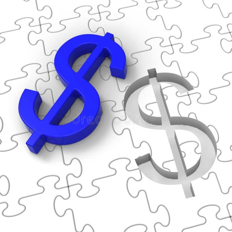 Dolarowa łamigłówka Pokazuje Amerykańskiego biznes royalty ilustracja